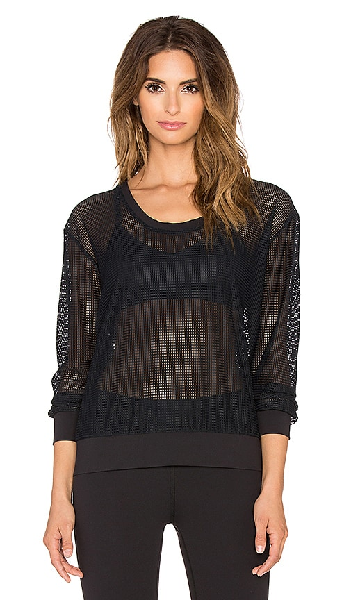 Lanston Sport Mesh Sweatshirt in Black