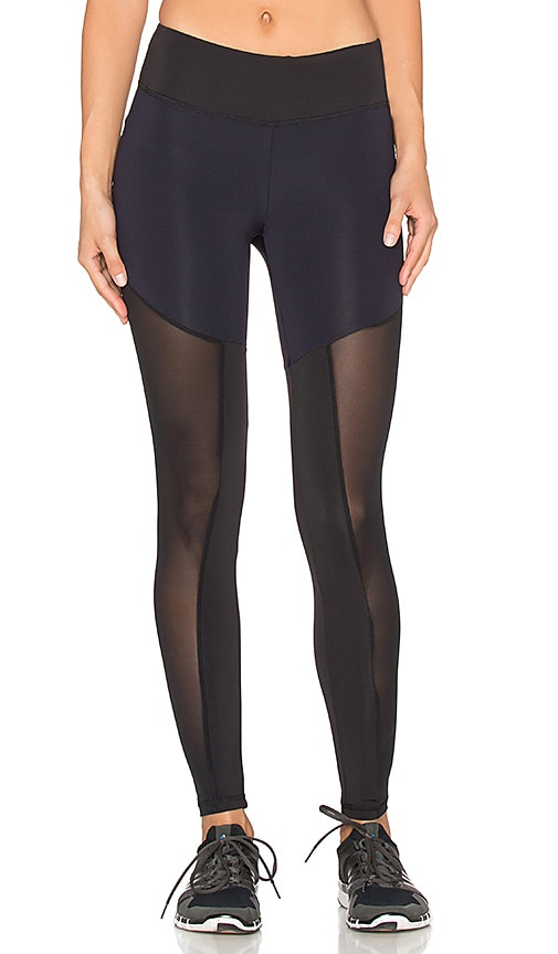 Lanston Sport Mesh Blocked Legging in Navy & Black