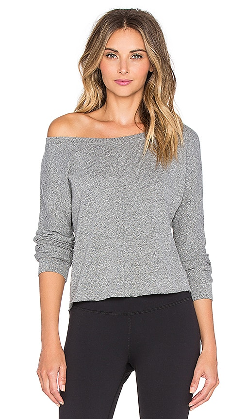 Lanston Sport Boatneck Crop Sweatshirt in Heather