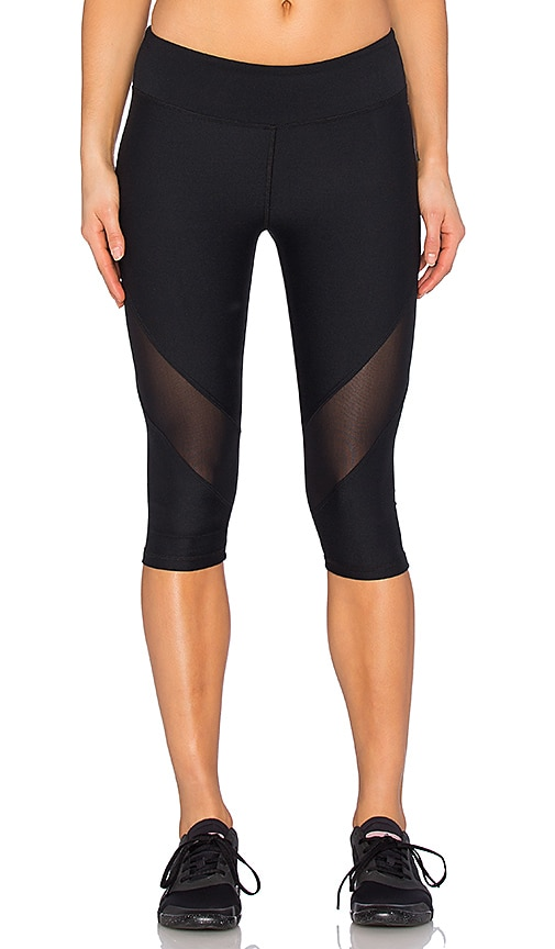 Lanston Sport Zipper Pocket Mesh Combo Capri in Black