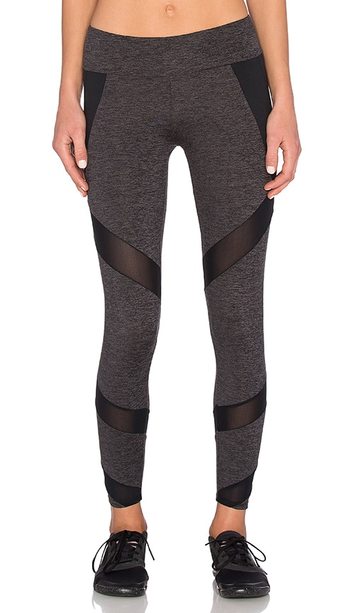 Lanston Sport Mesh & Color Block Legging in Charcoal