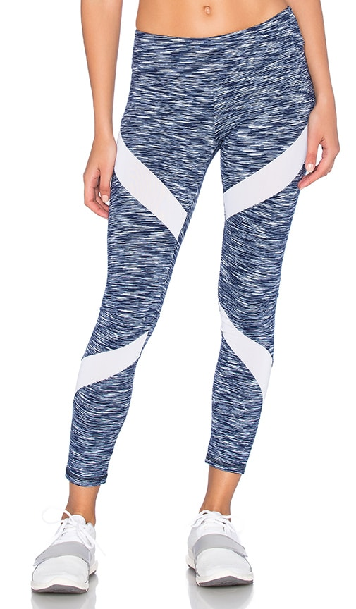 Lanston Sport Cross Mesh Legging in Navy