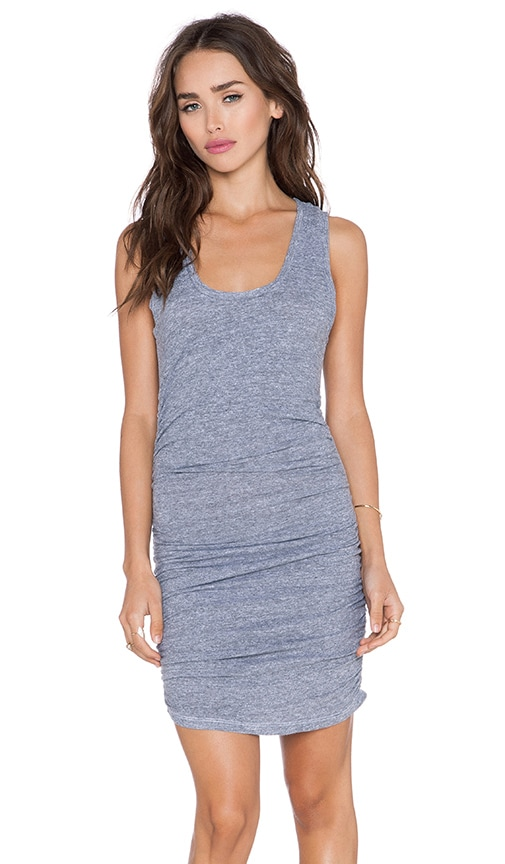 Lanston Tri Blend Gathered Tank Dress in Heather
