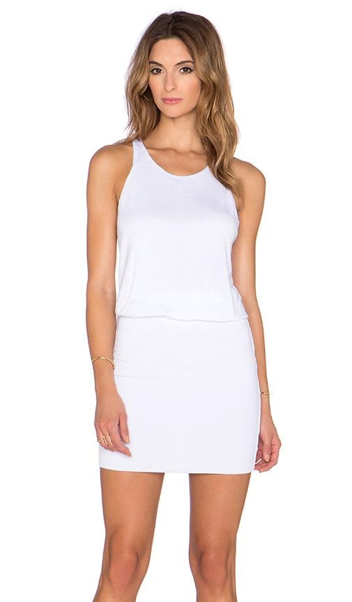 Lanston Rib Cross Back Dress in White