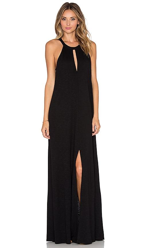 Lanston Slit Halterneck Maxi Dress in Black