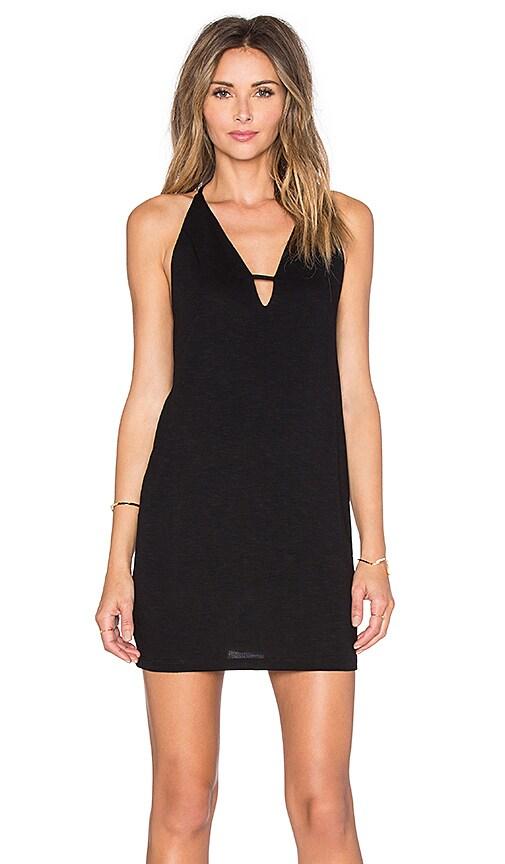 Lanston Deep V Mini Dress in Black