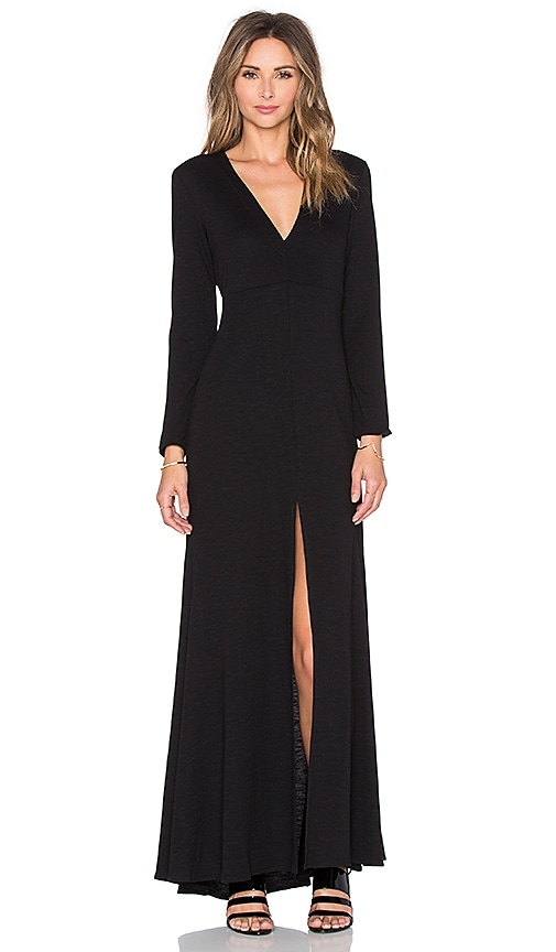 Lanston Long Sleeve Maxi Dress in Black