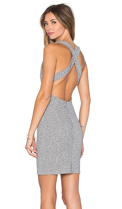 Lanston Cross Back Mini Dress in Grey