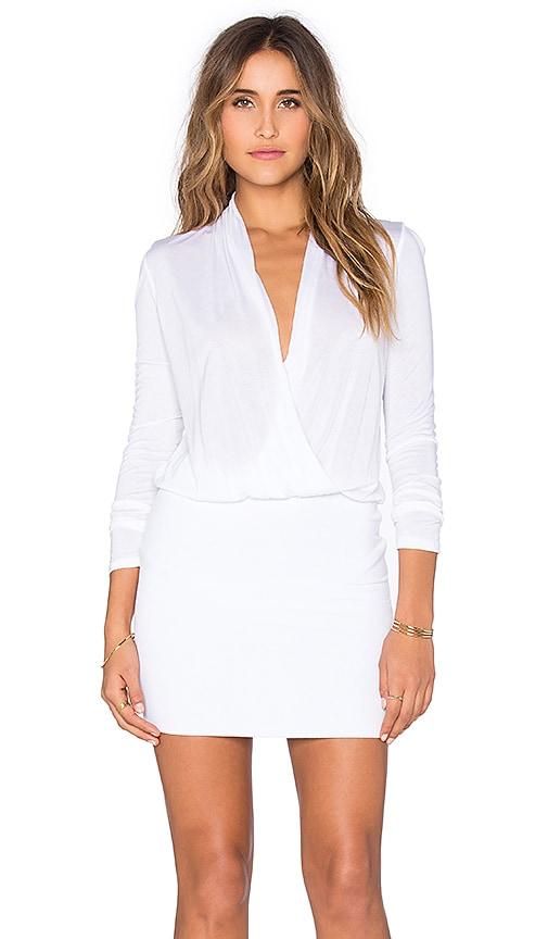 Lanston Surplice Long Sleeve Dress in White