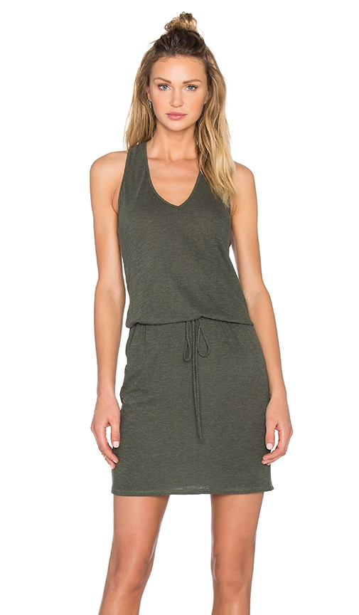 Lanston V Neck Racerback Dress in Military
