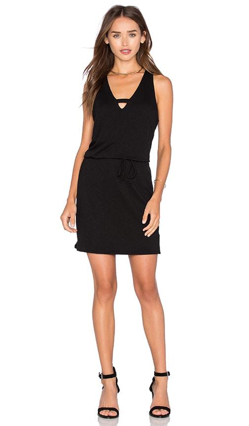 Lanston Cross V Mini Dress in Black