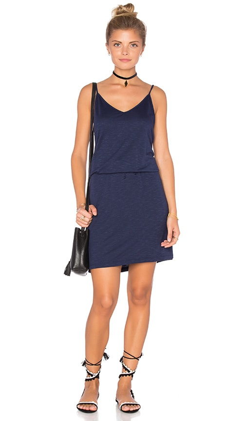 Lanston V Neck Mini Dress in Navy