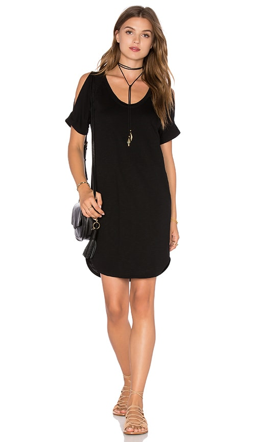 Lanston Open Shoulder Shirt Dress in Black