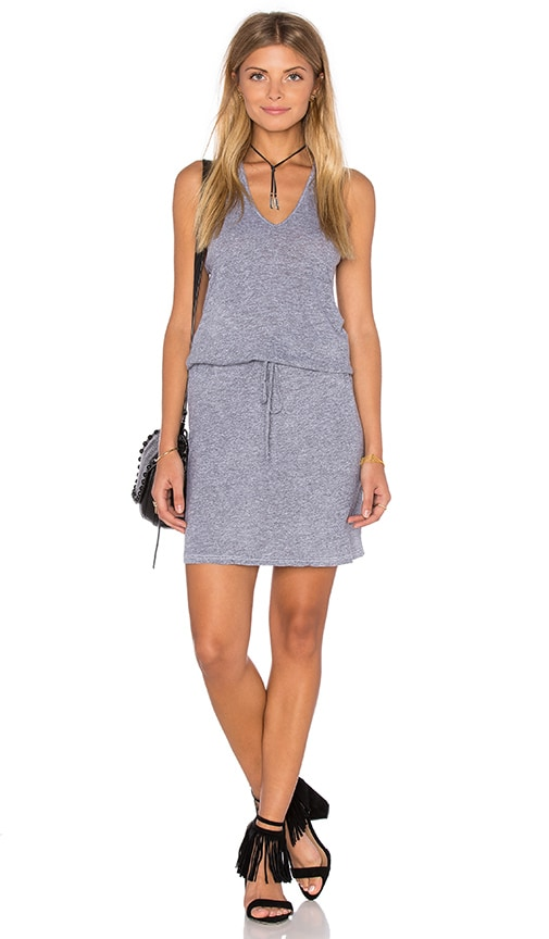 Lanston V Neck Racerback Dress in Gray