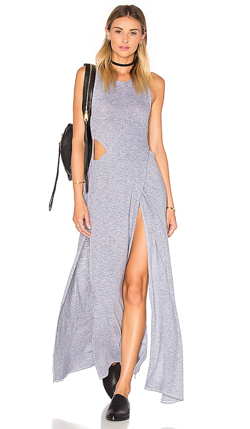 Lanston Crossover Cutout Maxi Dress in Grey