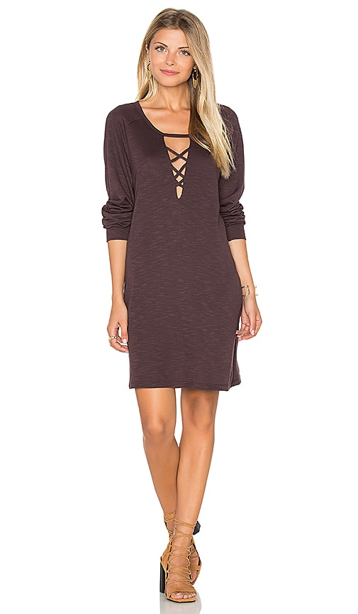 Lanston Lace Up Sweatshirt Dress in Brown