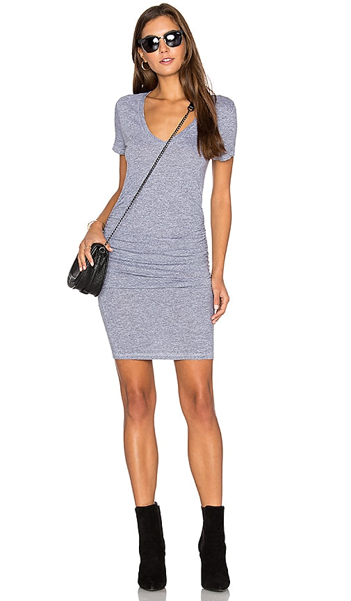 Lanston Ruched T Shirt Dress in Grey