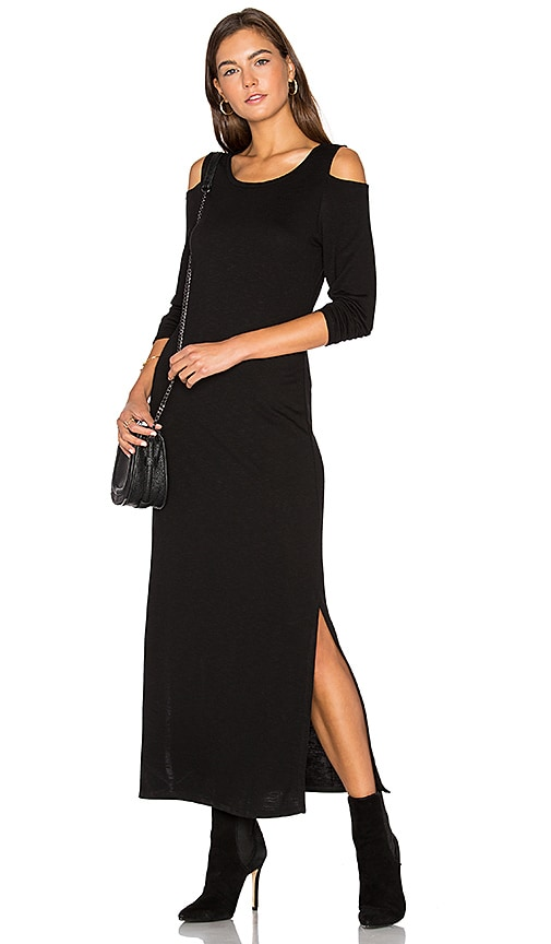 Lanston Cutout Shoulder Ankle Dress in Black