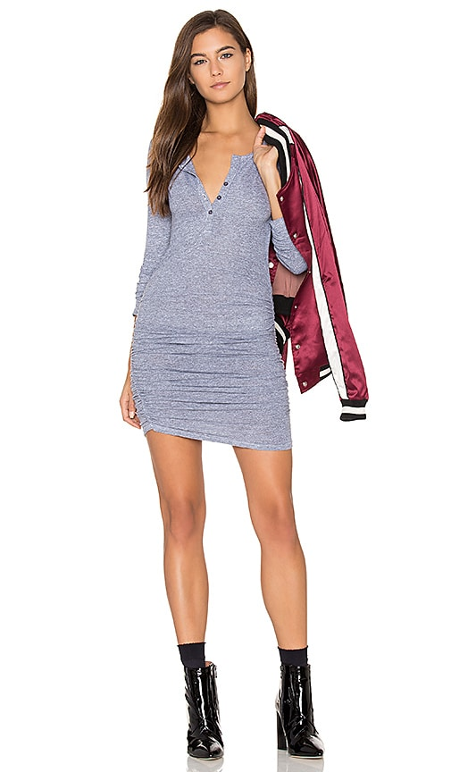 Lanston Ruched Henley Dress in Gray