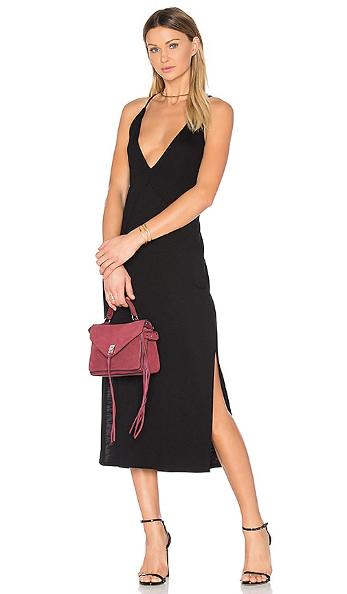 Lanston Slit Cami Midi Dress in Black