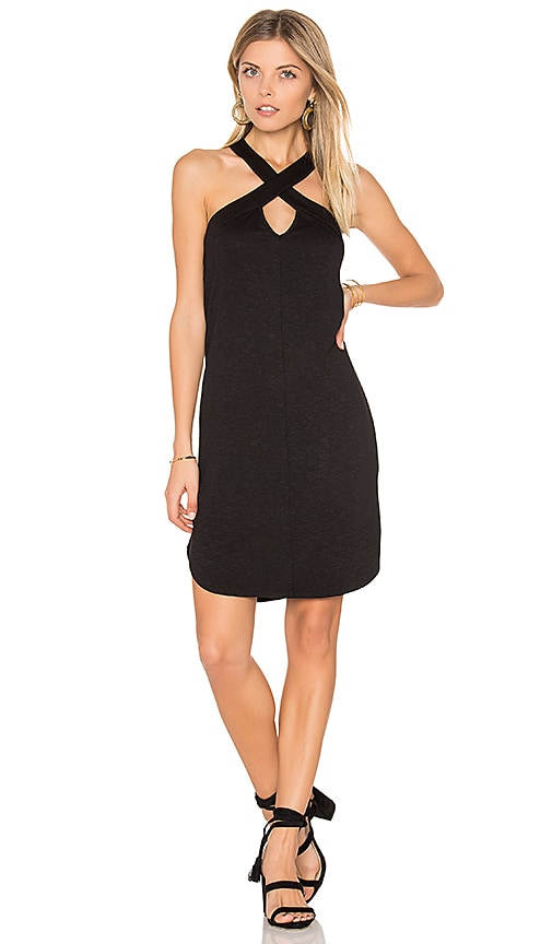 Lanston Cross Front Mini Dress in Black