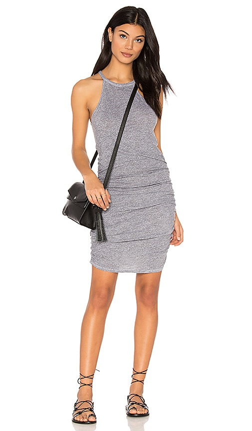 Lanston Ruched Halter Dress in Gray