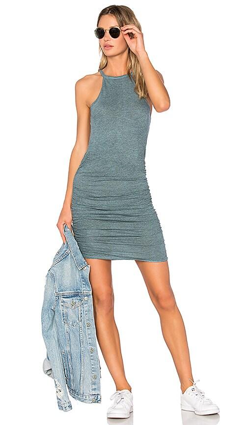 Lanston Ruched Halter Dress in Blue