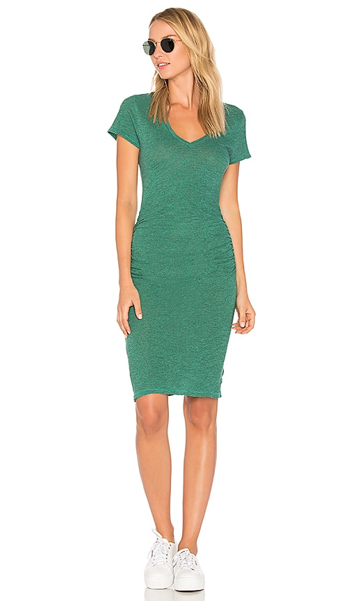 Lanston Ruched T Shirt Dress in Green