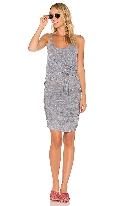 Lanston Tie Front Dress in Gray