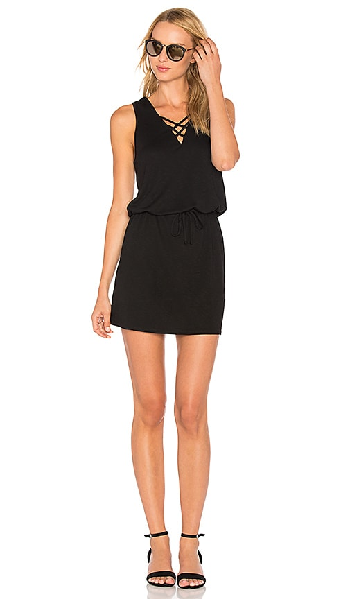 Lanston Cross Strap Dress in Black