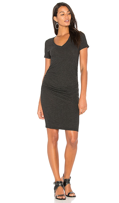 Lanston Ruched T Shirt Dress in Black