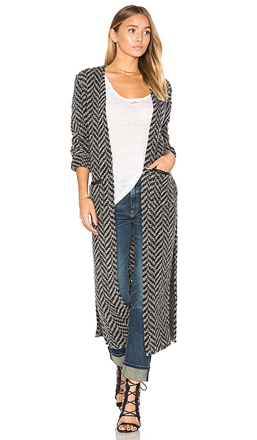 Lanston Contrast Pocket Maxi Cardigan in Gray