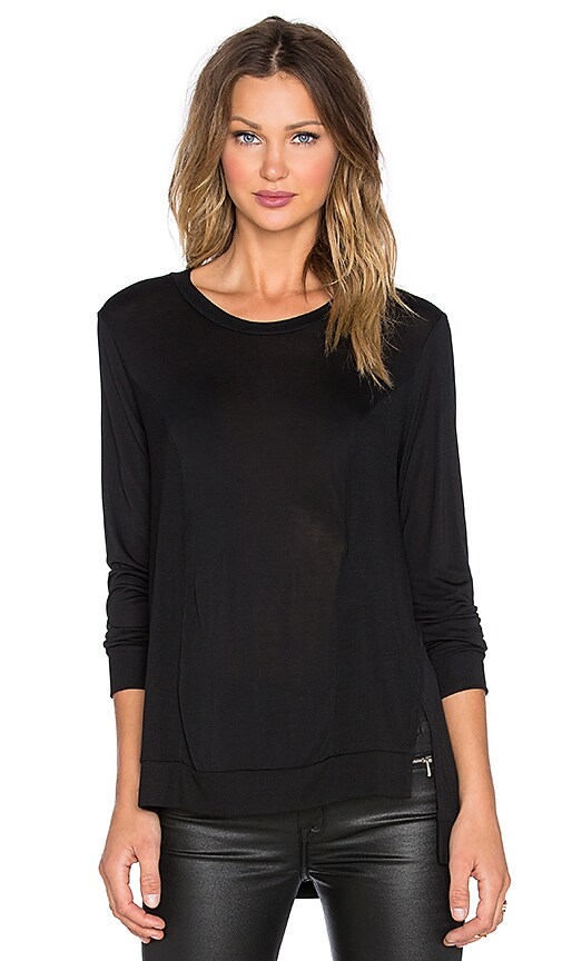Lanston Slit Rib Paneled Sweatshirt in Black