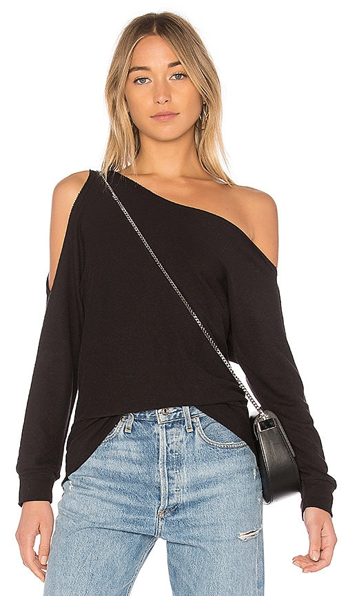 Lanston One Shoulder Pullover in Black