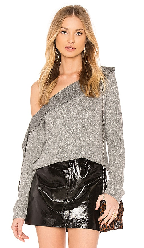 Lanston Off Shoulder Sweatshirt in Gray