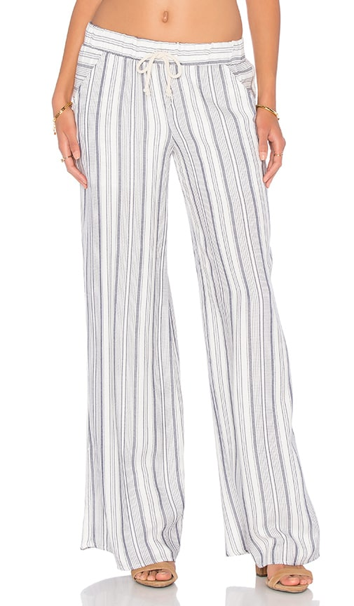Lanston Stripe Wide Leg Pant in White
