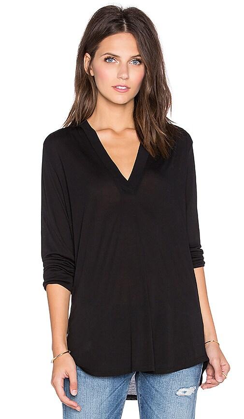 Lanston Deep V Long Sleeve Tunic in Black