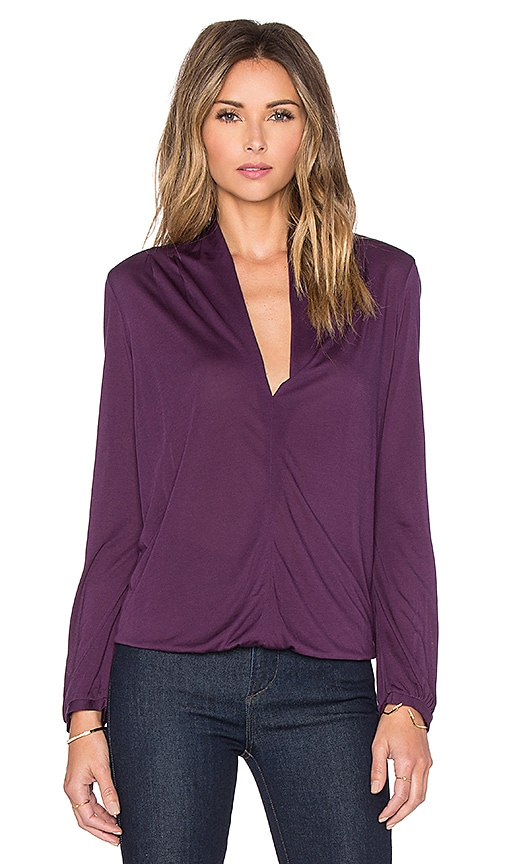 Lanston Deep V Long Sleeve Top in Purple