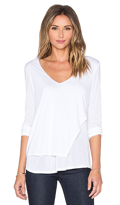 Lanston Layered Asymmetrical V Neck Top in White