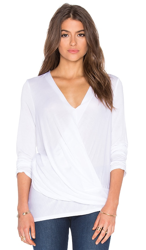 Lanston Long Sleeve Asymmetrical Surplice Top in White