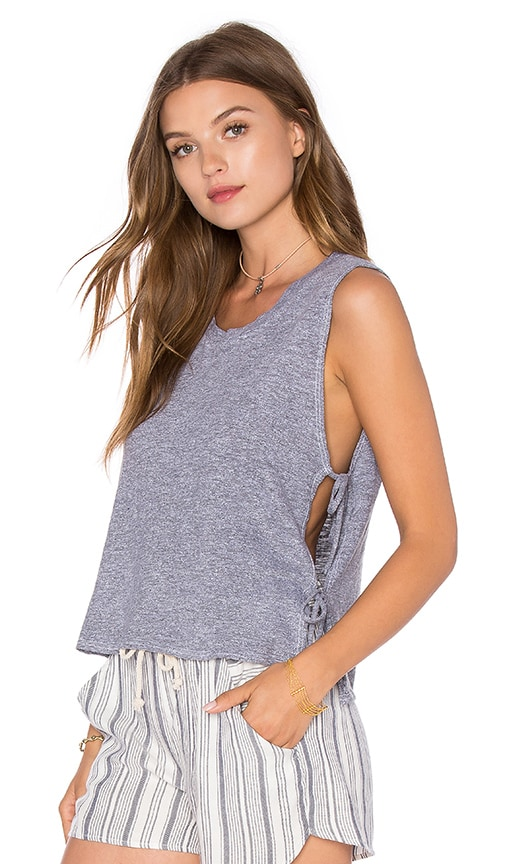 Lanston Side Tie Crop Tank in Gray