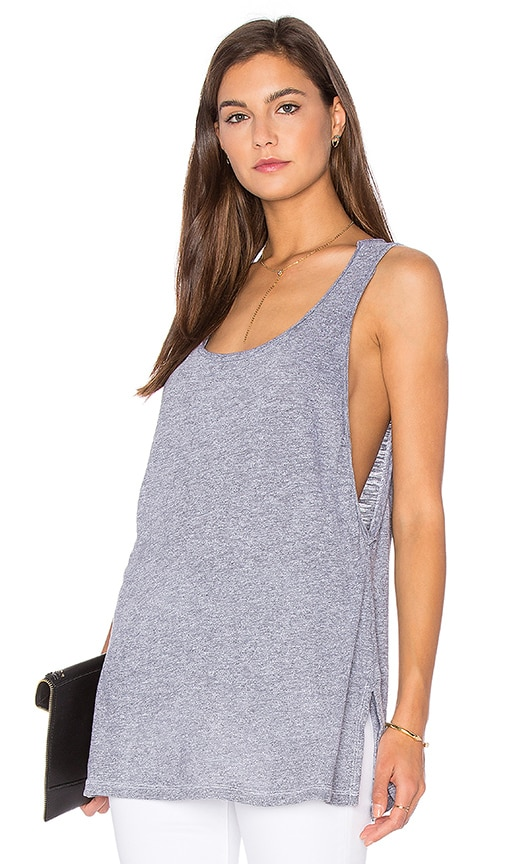 Lanston Side Slit Tunic Tank in Grey