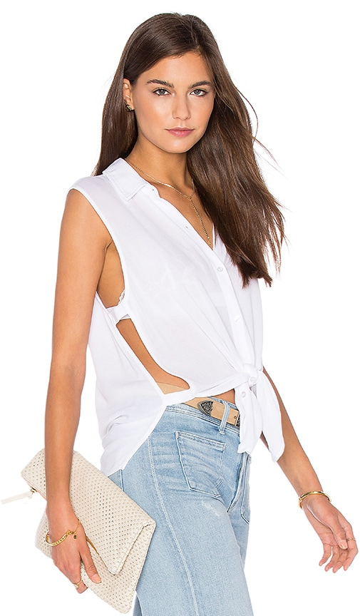 Lanston Button Down Cut Out Tank in White