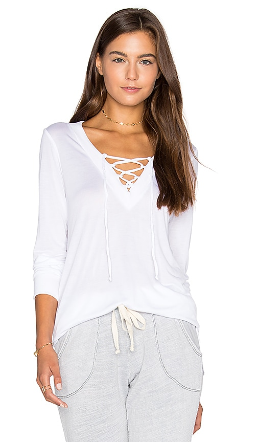 Lanston Lace Up Pullover Top in White