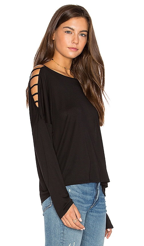 Lanston Bar Shoulder Top in Black