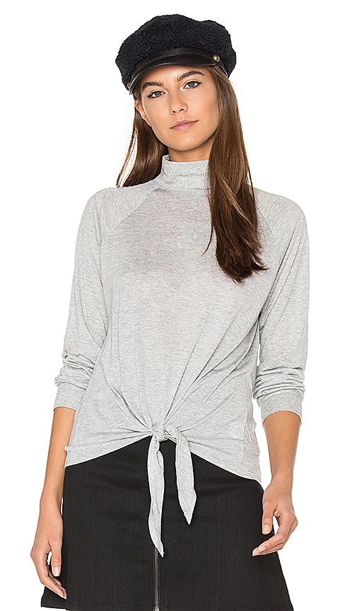 Lanston Front Tie Turtleneck Top in Gray
