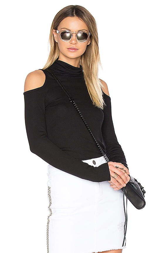 Lanston Cold Shoulder Turtleneck Top in Black