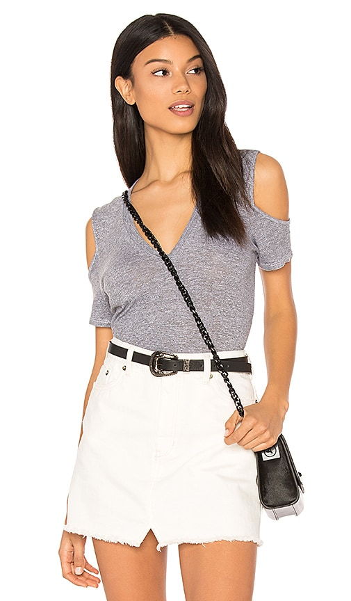 Lanston Cold Shoulder Tee in Gray