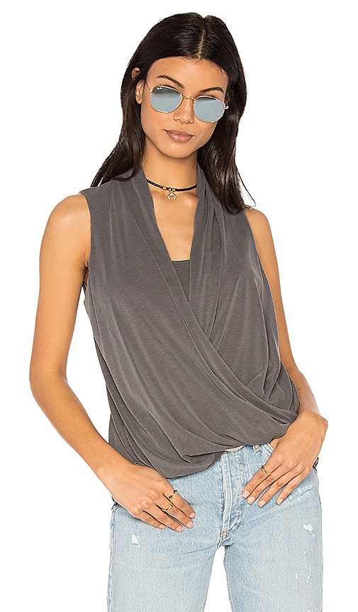 Lanston Asymmetrical Surplice Tank in Gray