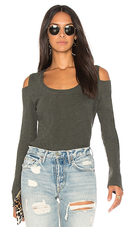 Lanston Cold Shoulder Top in Green